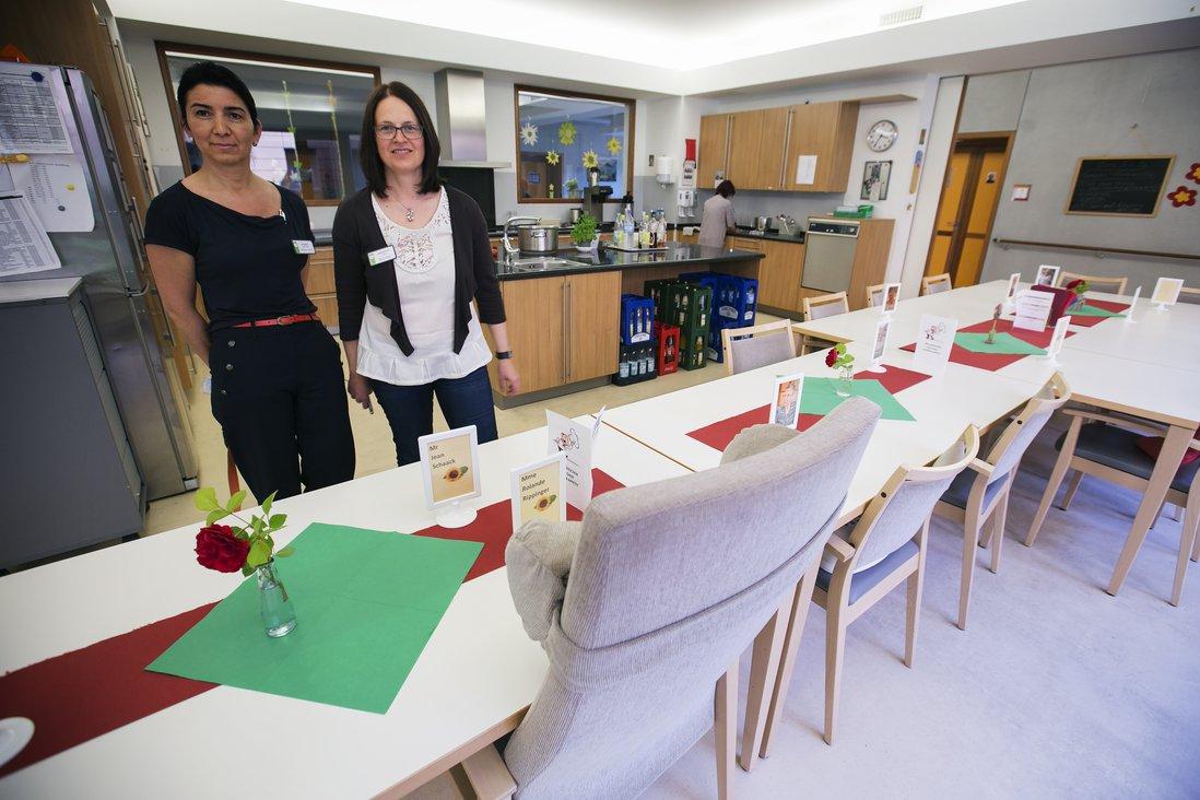 Beim Goldknapps direktør Lydie Diederich og ansvarlig for stedets palliative omsorg, sykepleier Carasela Laptes