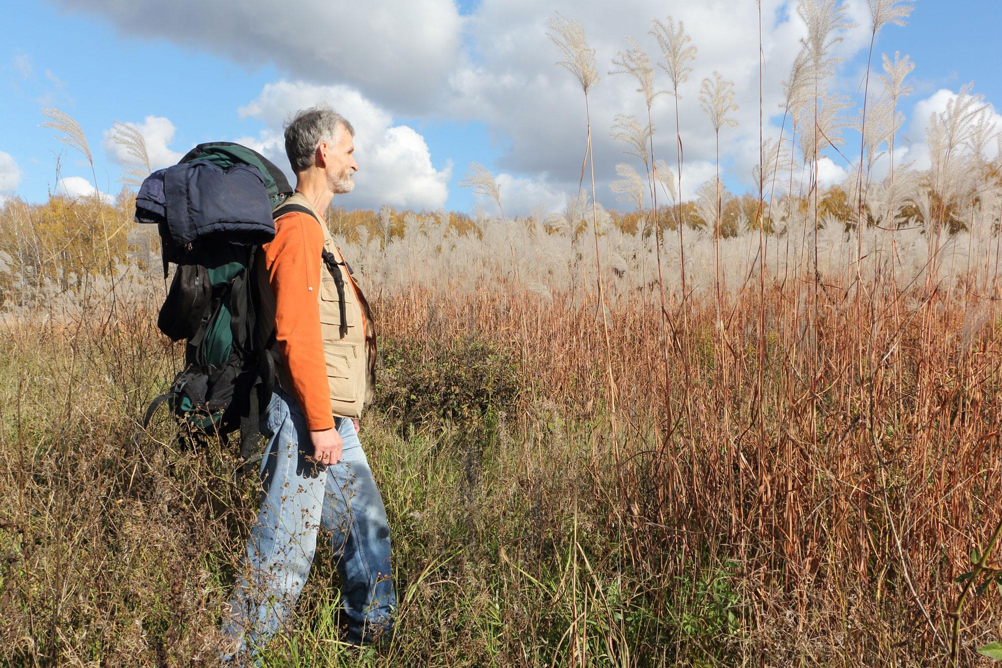 Eldre mann som går tur i naturen. Foto