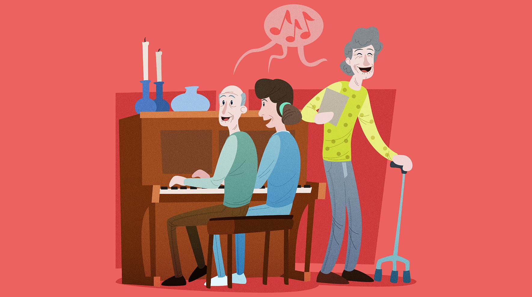 tegning av noen som spiller piano og en som synger