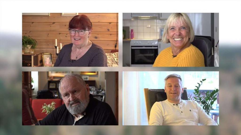 Portrettfoto av 4 deltagere i CP-film. Skjermbilde