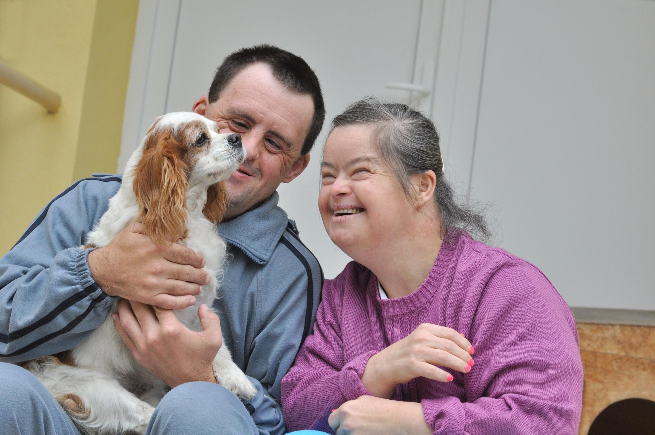 Par med downs sitter sammen med hund. Foto