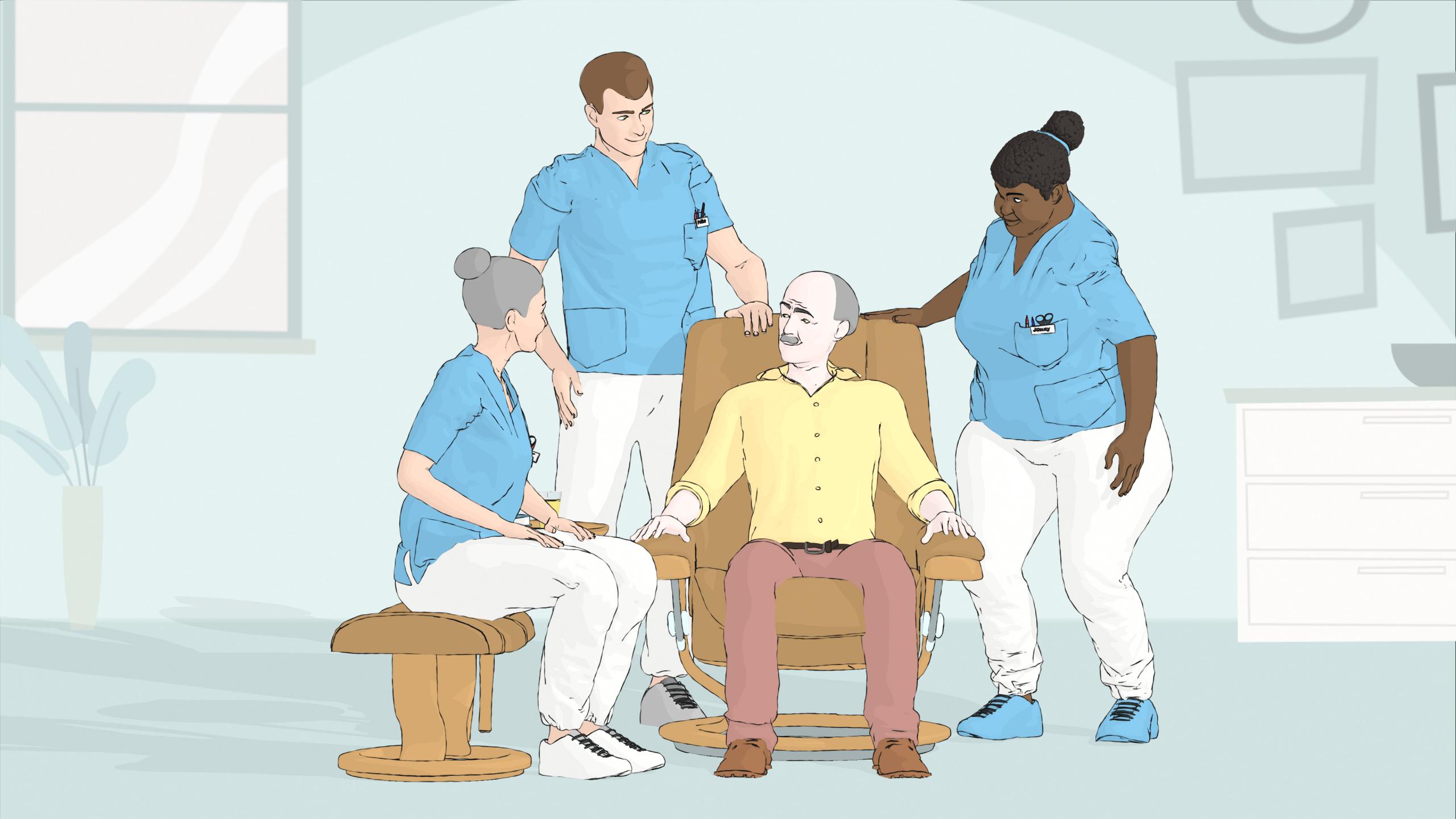 Tre pleiere observerer mann i stol. Grafikk.