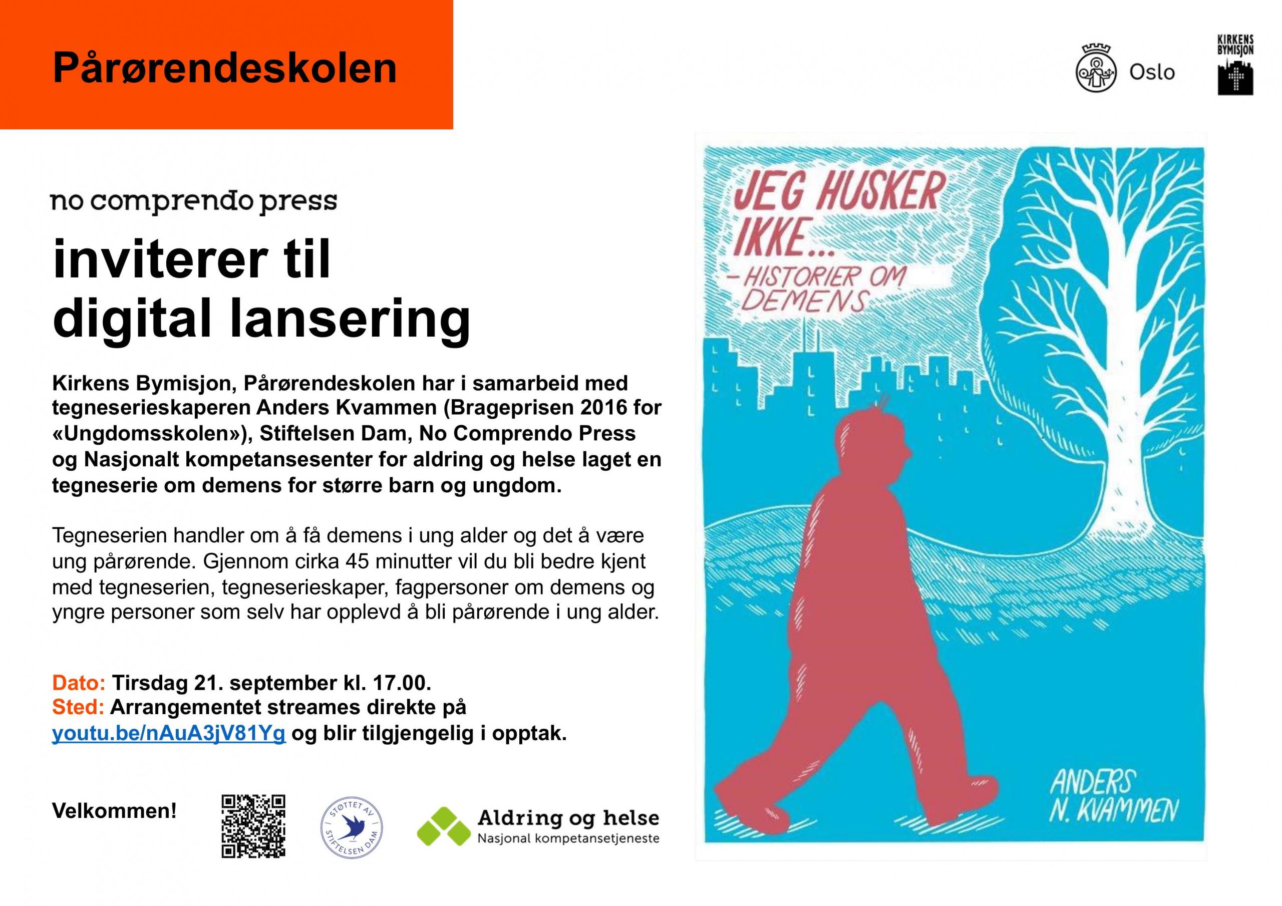 Digital lansering av tegneserie om demens. Plakat.